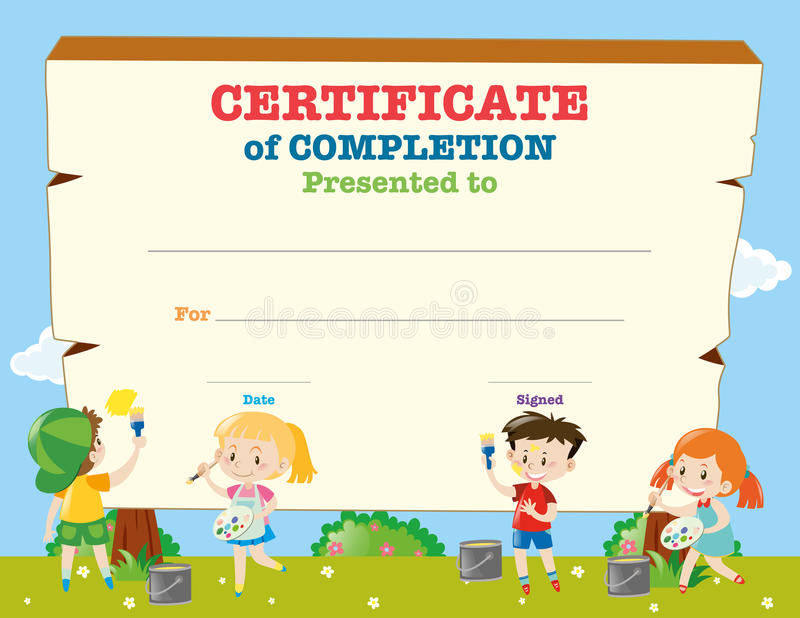 Certificate Template With Happy Children Stock Vector - Illustration ...