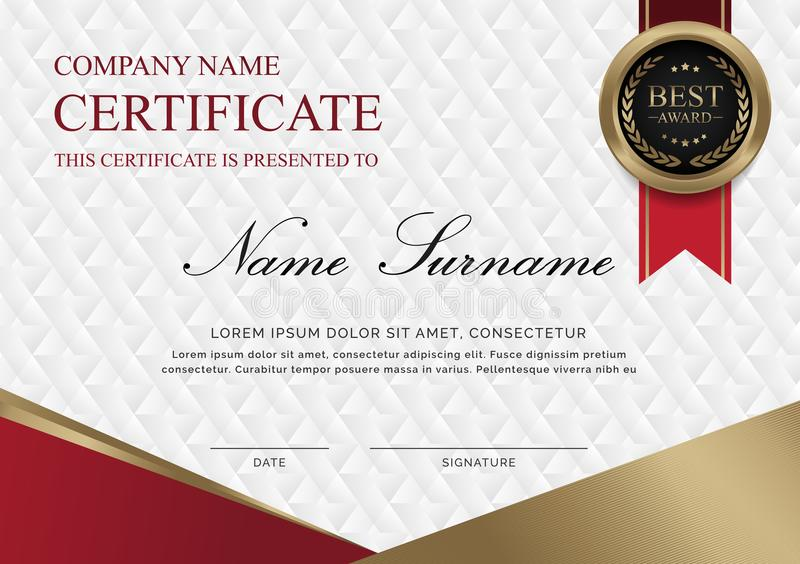 Certificate template horizontal of red and golden shapes and badge. vector illustration