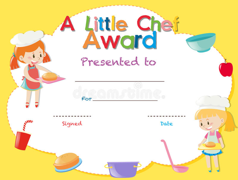 Certificate template with kids cooking stock illustration certificate template with kids cooking illustration yelopaper Image collections