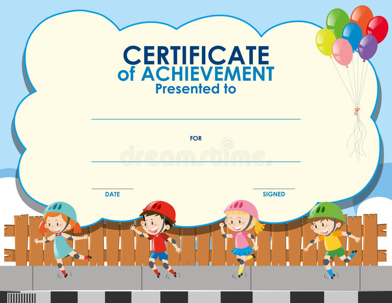 download certificate template with kids skating stock illustration illustration of skates clipart 81193530