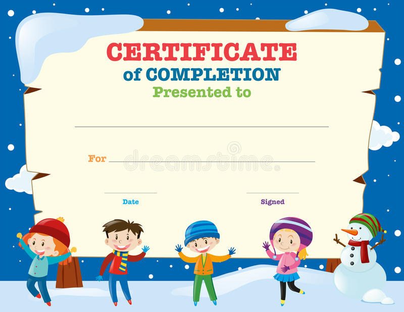 download certificate template with kids in the snow stock vector illustration of blank girl