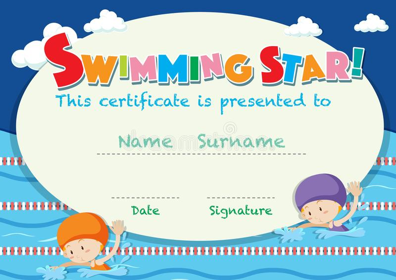 Certificate template with kids swimming. Illustration royalty free illustration