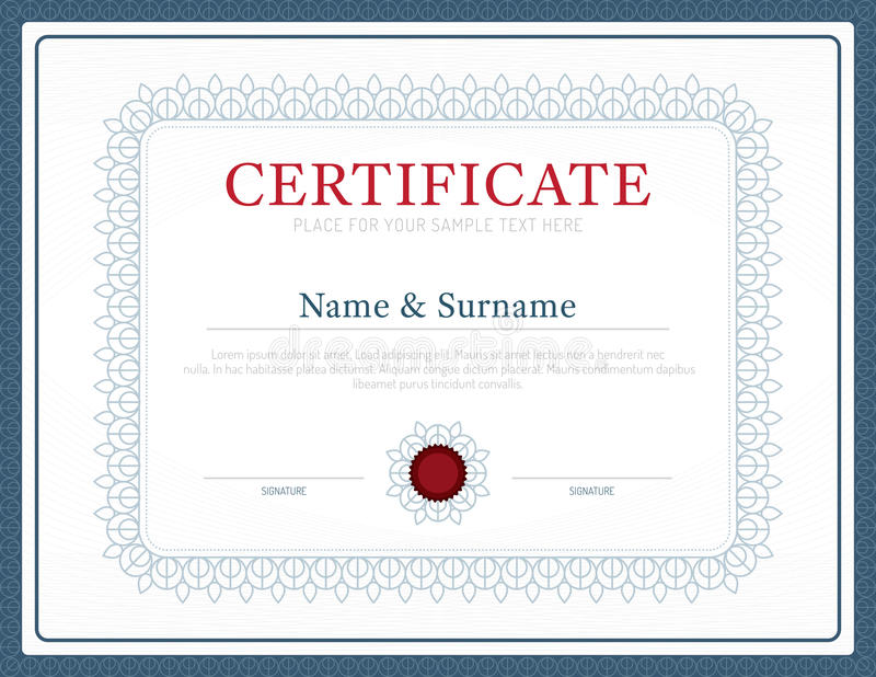 Certificate Template Layout Background Frame Design Vector Mode