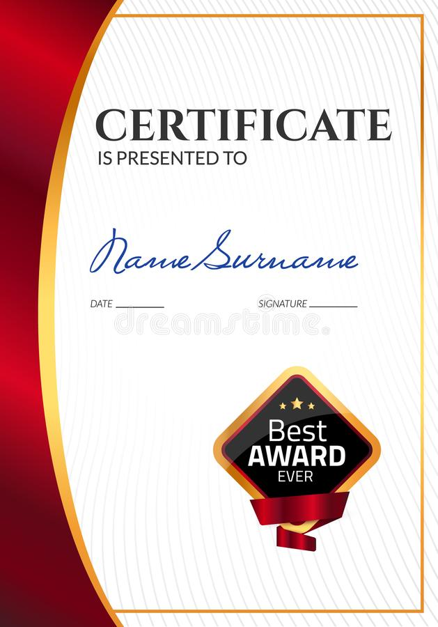 Certificate template luxury award. Vector business diploma with seal stamp. Gift coupon or success achievement.  royalty free illustration