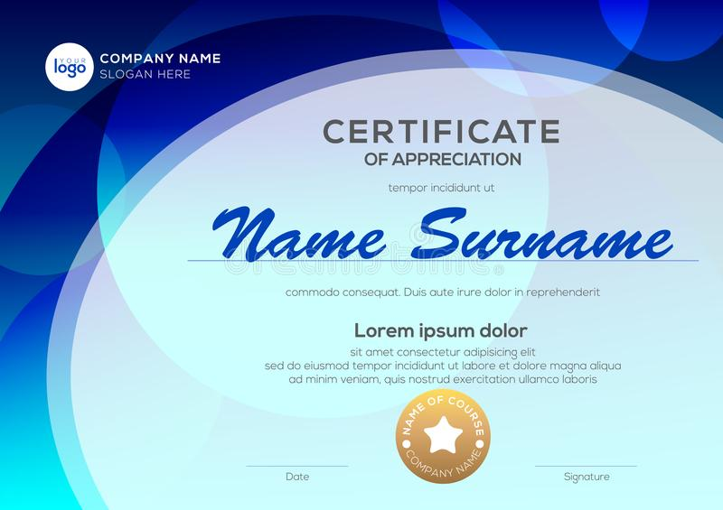 Certificate template with oval shape on blue background. Certificate of appreciation, award diploma design template. royalty free illustration