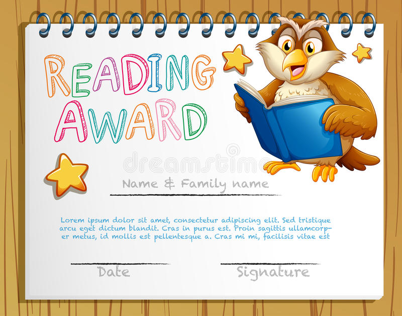 Certificate Template With Owl Reading Book Stock Vector