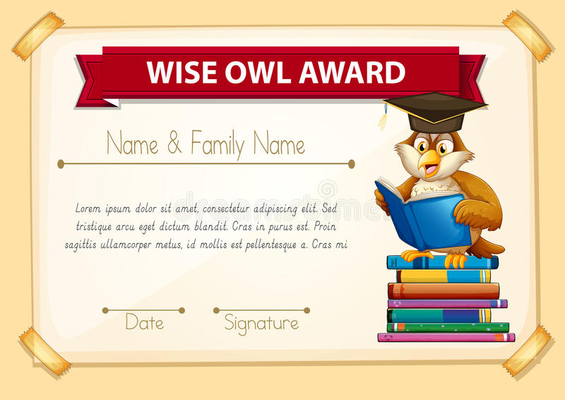 Certificate template with owl reading books stock vector download certificate template with owl reading books stock vector illustration of creature mammal yadclub Choice Image