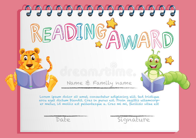 Certificate template for reading award stock vector illustration download certificate template for reading award stock vector illustration of winning graphic 87475634 yadclub Choice Image