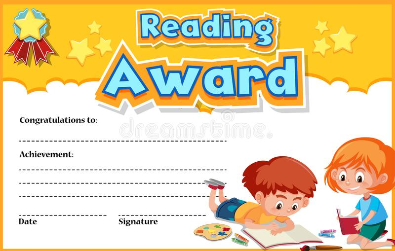 Certificate template for reading award with kids reading in background 皇族释放例证