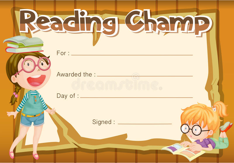 Certificate template for reading champ stock vector illustration download certificate template for reading champ stock vector illustration of winning school 87475211 yadclub Images