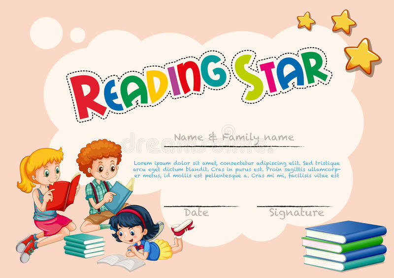 Certificate Template For Reading Star With Pink Background Stock