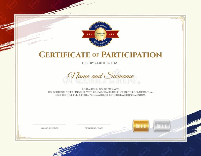 Certificate template in rugby sport theme with border frame, Dip. Loma design stock illustration