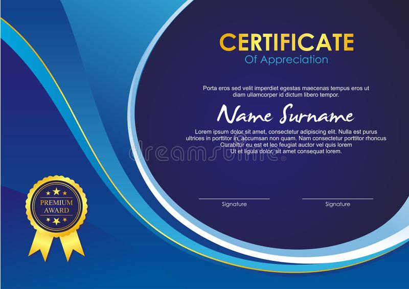 Certificate Template with stylish wave design. Designed using blue, green, gold and white shades. makes it very elegant, harmonious and attractive to use for royalty free illustration