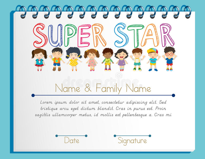 Certificate Template For Super Star With Many Children Stock Vector