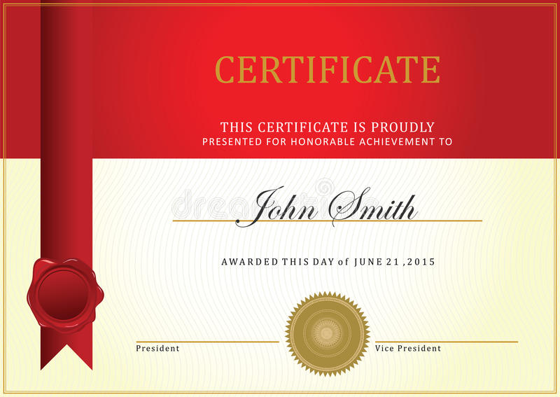 Certificate template. Vector, with ribbon vector royalty free illustration