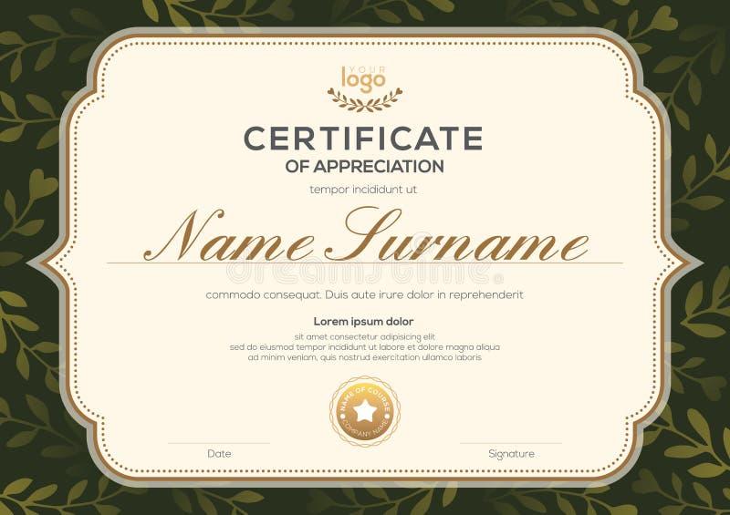 Certificate template with vintage frame on dark green floral leaf pattern background. Certificate of appreciation, award diploma stock illustration