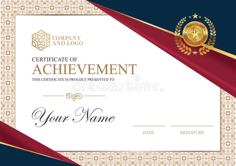 Certificate to be elegant and stylish. With the certificate award. stock illustration