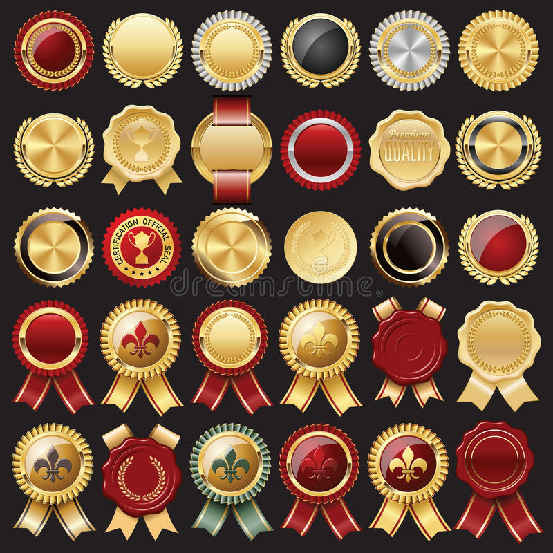 Certificate Wax Seal and Badges. Set of Certificate Wax Seal and Badges stock illustration