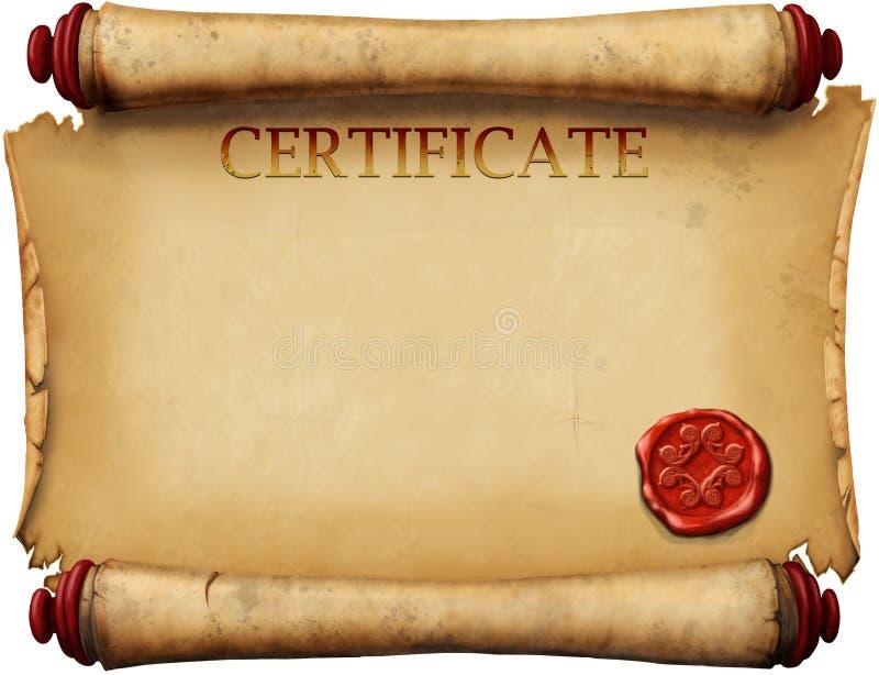 Certificaten met waszegel royalty-vrije illustratie
