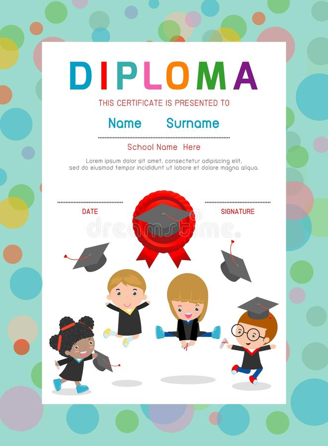 Certificates kindergarten and elementary preschool kids diploma download certificates kindergarten and elementary preschool kids diploma certificate background design template stock vector yelopaper Choice Image
