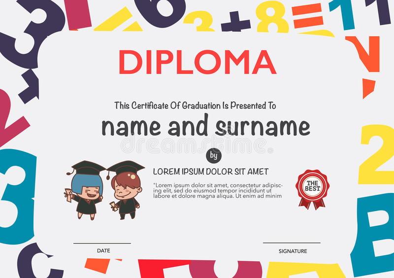 Certificates kindergarten stock vector. Illustration of education ...