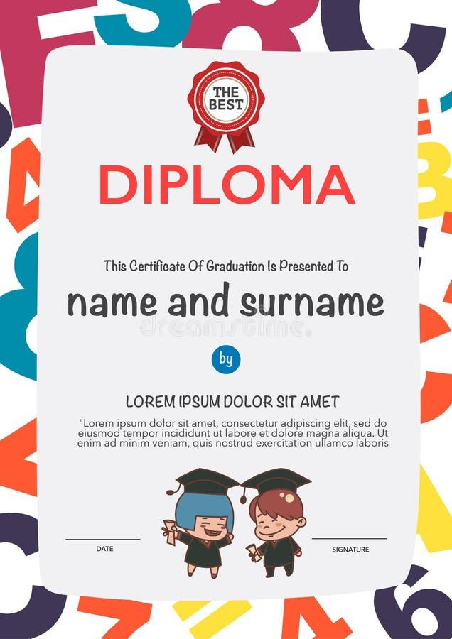 Certificates kindergarten stock vector. Illustration of badge - 62399235
