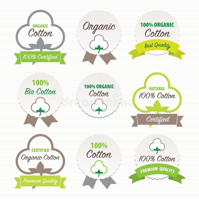 Certificati del cotone Insieme di contrassegni illustrazione di stock