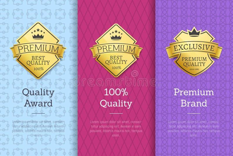 Certificati di garanzia di marca premio del premio di qualità illustrazione di stock