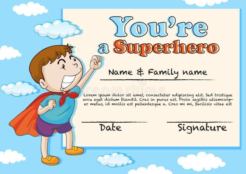 Certificatiemalplaatje met jongen die superhero zijn royalty-vrije illustratie