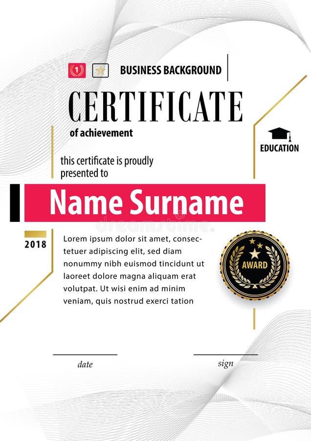 Certificato bianco ufficiale del modello del premio di apprezzamento con il distintivo nero, wafer Elementi di Guilloshe royalty illustrazione gratis