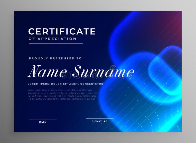 Certificato blu dell'innovazione di stile di tecnologia di apprezzamento royalty illustrazione gratis