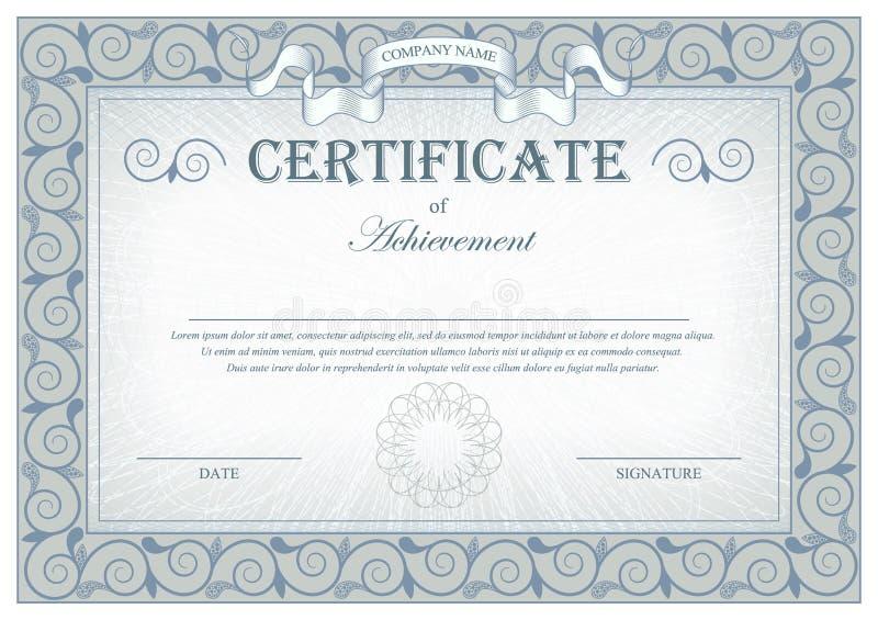 Certificato d'annata grigio dettagliato con le bandiere ed i flourishes illustrazione vettoriale