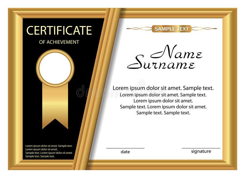 Certificato del modello del risultato Progettazione dell'oro Vettore illustrazione di stock