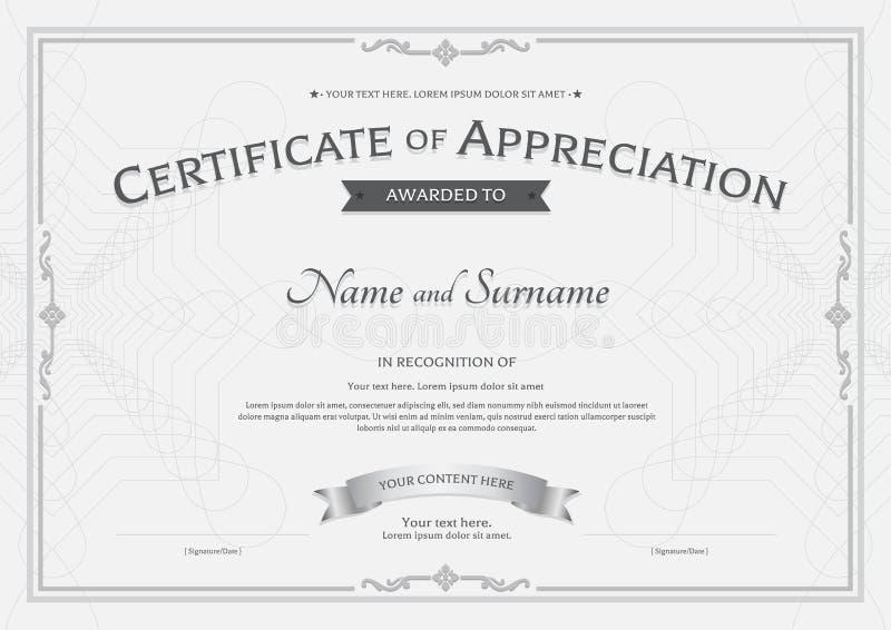 Certificato del modello di apprezzamento con il nastro del premio sul abstra illustrazione vettoriale