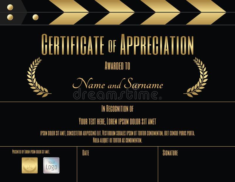 Certificato del modello di apprezzamento nel tema del film illustrazione vettoriale
