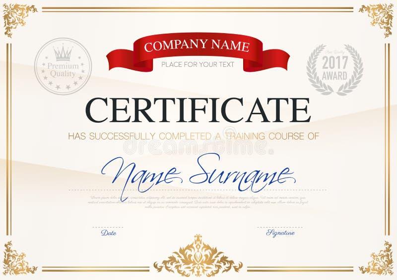 Certificato del modello di completamento illustrazione di stock