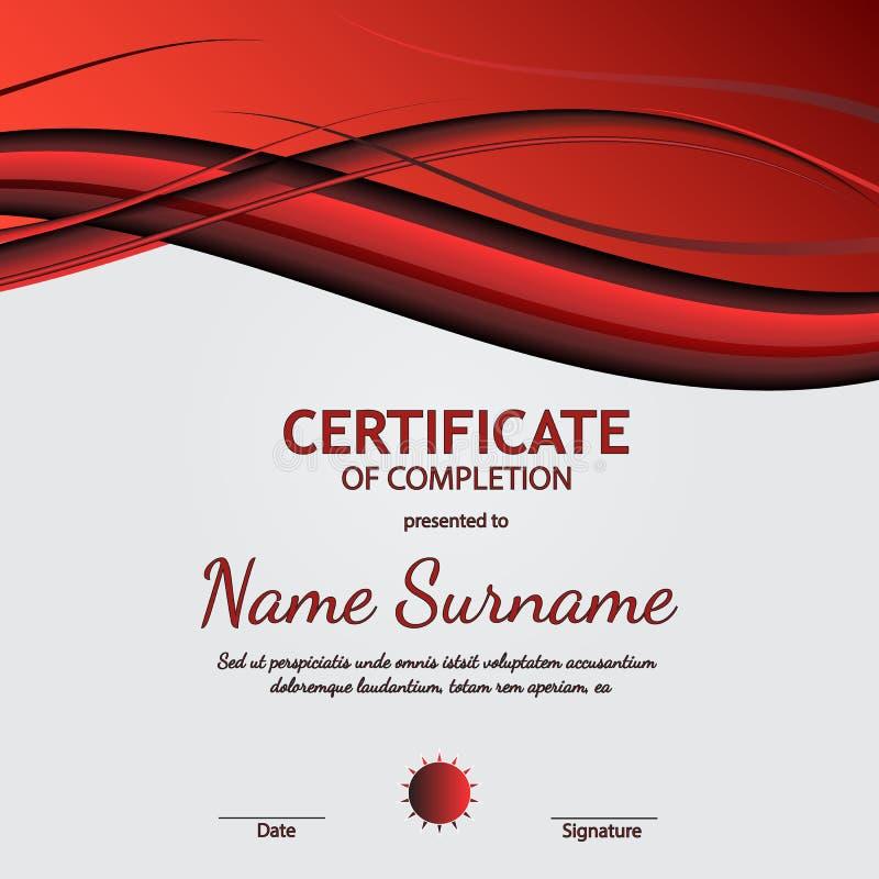 Certificato del modello di completamento con fondo ondulato molle rosso e nero dinamico Linee curve nello stile regolare elegante illustrazione di stock