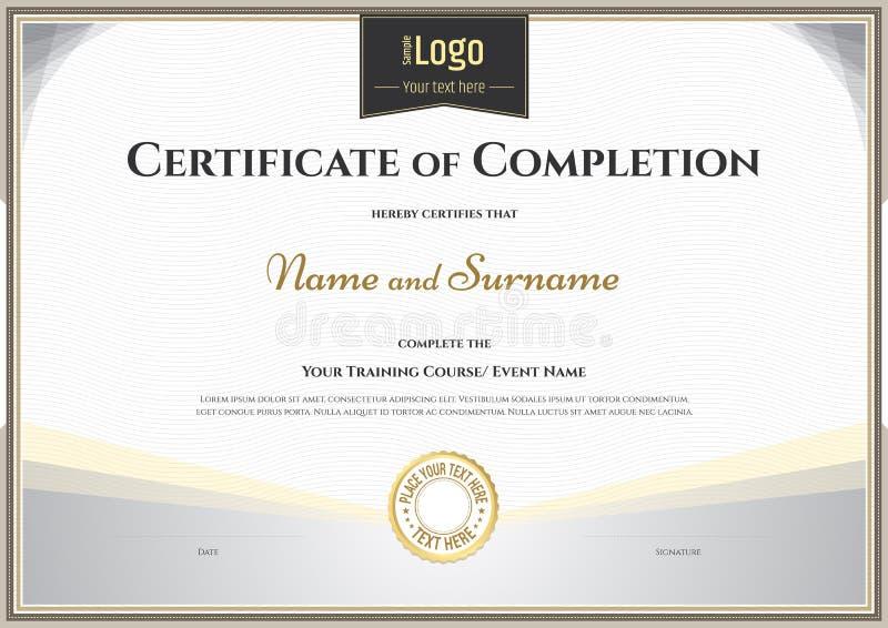 Certificato del modello di completamento nel vettore per il gra di risultato royalty illustrazione gratis