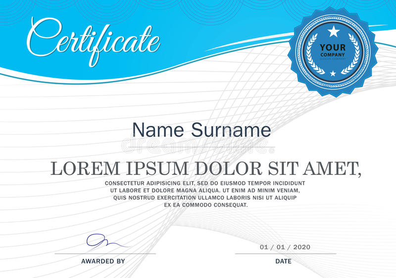 Certificato del modello di progettazione della struttura di risultato, blu illustrazione di stock