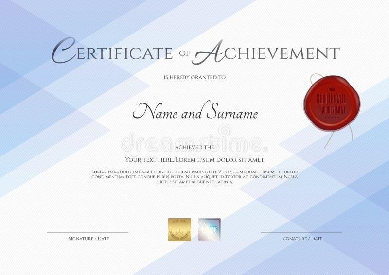 Certificato del modello di risultato con la guarnizione rossa della cera royalty illustrazione gratis