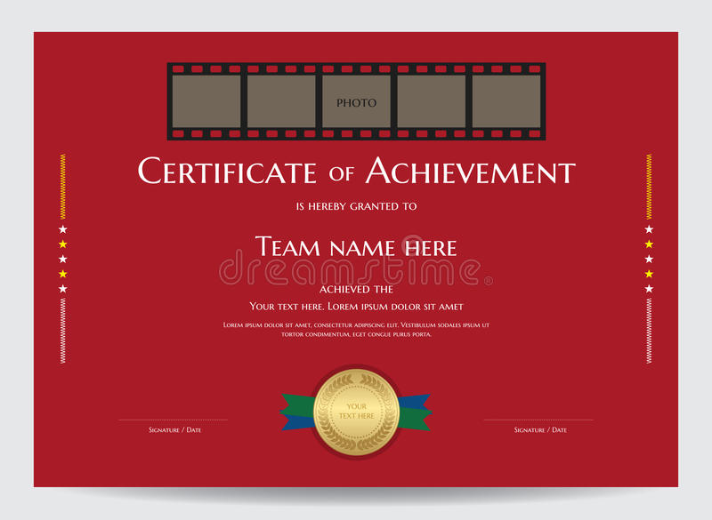 Certificato del modello di risultato con lo spazio della foto in film illustrazione di stock