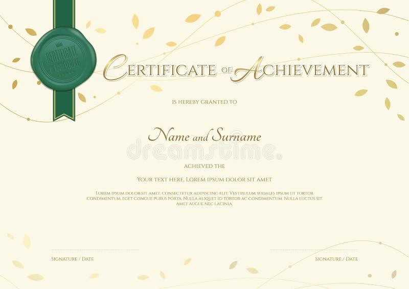 Certificato del modello di risultato nel tema dell'ambiente illustrazione vettoriale