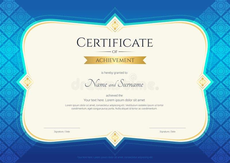 Certificato del modello di risultato nel vettore con tailandese applicato royalty illustrazione gratis
