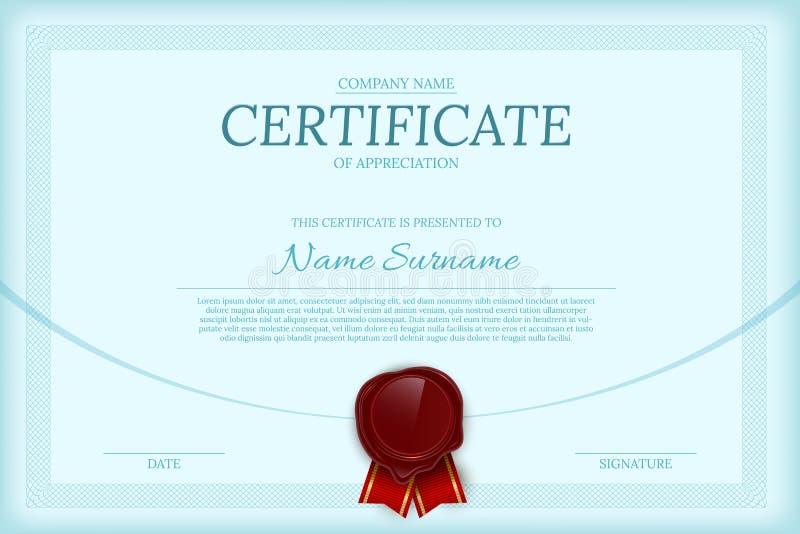 Certificato del modello di vettore di colore di apprezzamento royalty illustrazione gratis