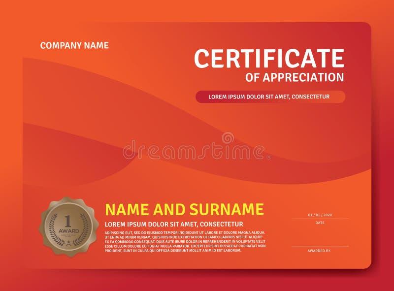 Certificato del modello del premio di apprezzamento Orizzontale del certificato dell'illustrazione nel modello di dimensione A4 royalty illustrazione gratis