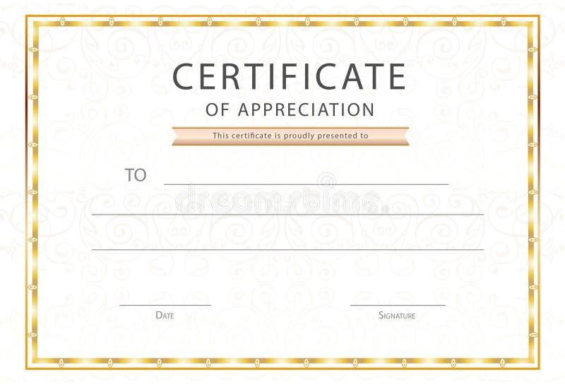 Certificato del modello premio del diploma/di apprezzamento illustrazione vettoriale