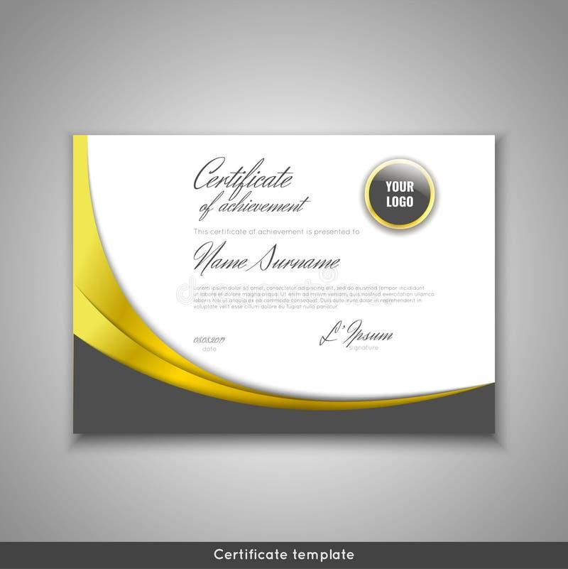 Certificato del risultato - apprezzamento, completamento, graduazione, diploma o premio con il fondo delle onde dell'oro mascheri illustrazione vettoriale