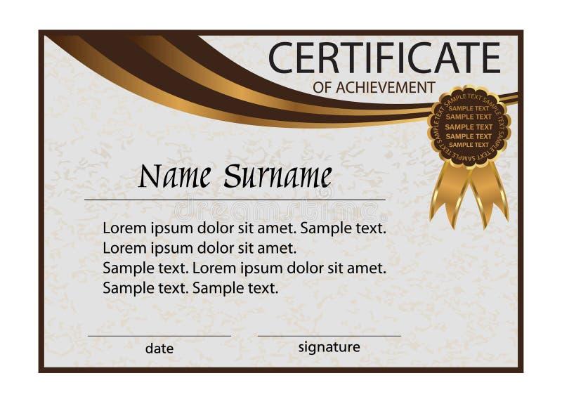 Certificato del risultato o del diploma Fondo leggero elegante illustrazione vettoriale