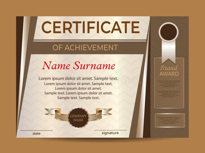 Certificato del risultato o del diploma vincitore del premio Sport della ricompensa Conquista della concorrenza Vettore illustrazione vettoriale