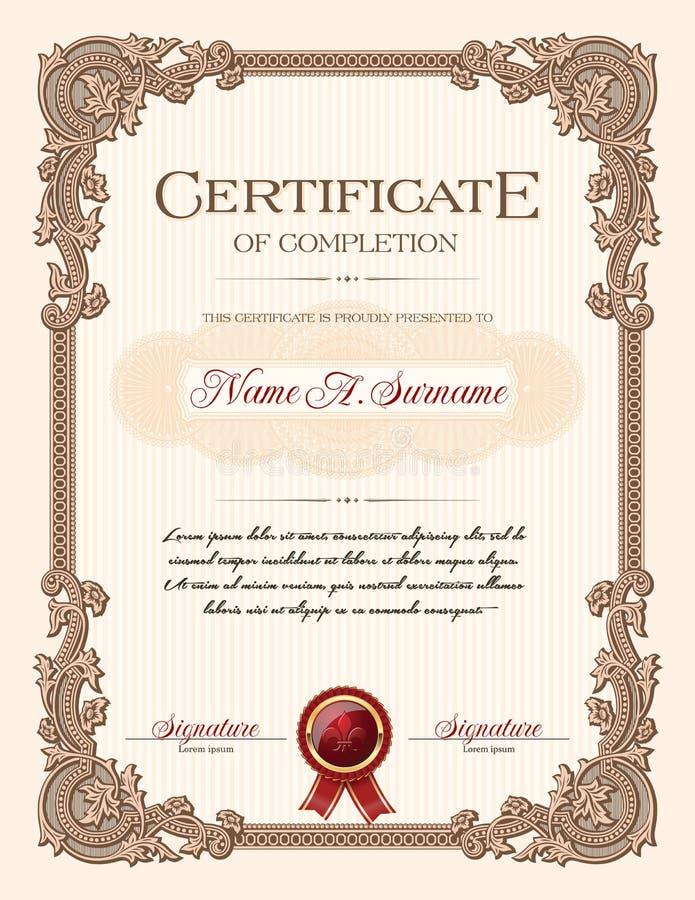 Certificato del ritratto di completamento con la struttura dell'annata dell'ornamento floreale illustrazione vettoriale